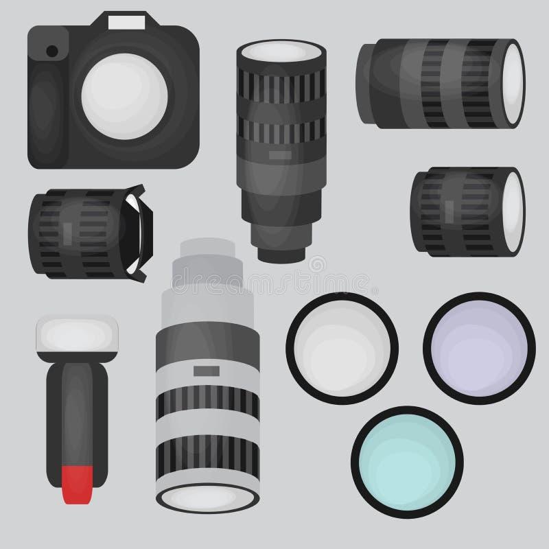 Σύνολο εξοπλισμού στούντιο φωτογραφιών, κάμερας και οπτικών επίπεδων εικονιδίων φακών ελεύθερη απεικόνιση δικαιώματος