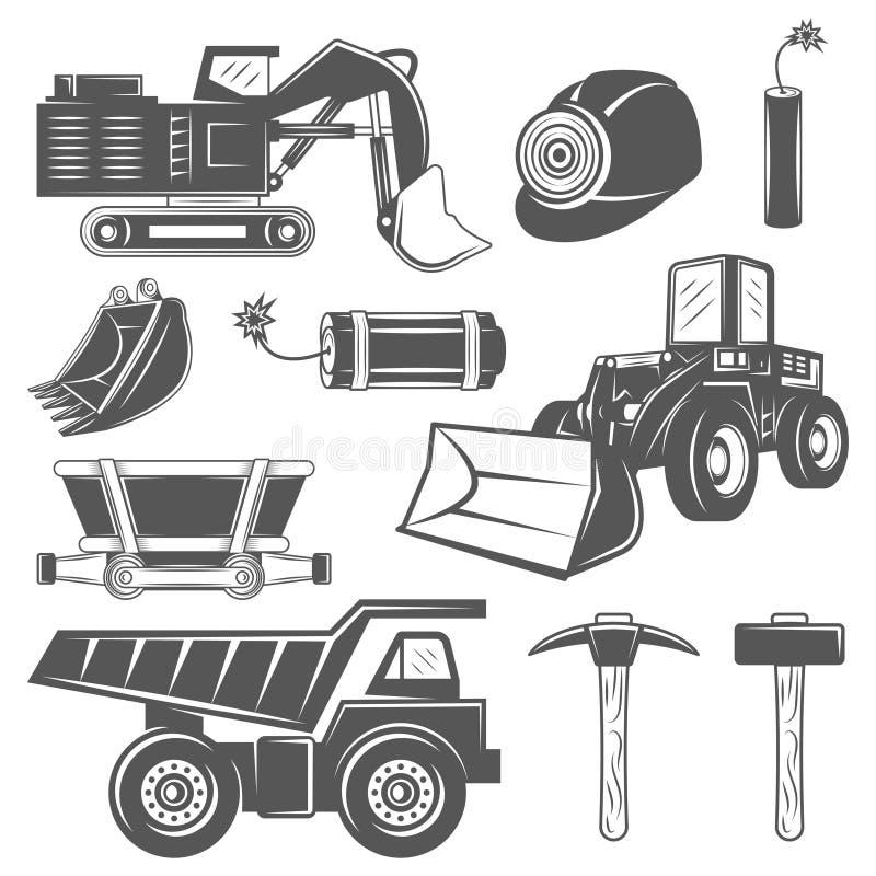 Σύνολο εξορυκτικής βιομηχανίας εικονιδίων στο μονοχρωματικό εκλεκτής ποιότητας ύφος με τα επαγγελματικά εργαλεία και τα machineri διανυσματική απεικόνιση