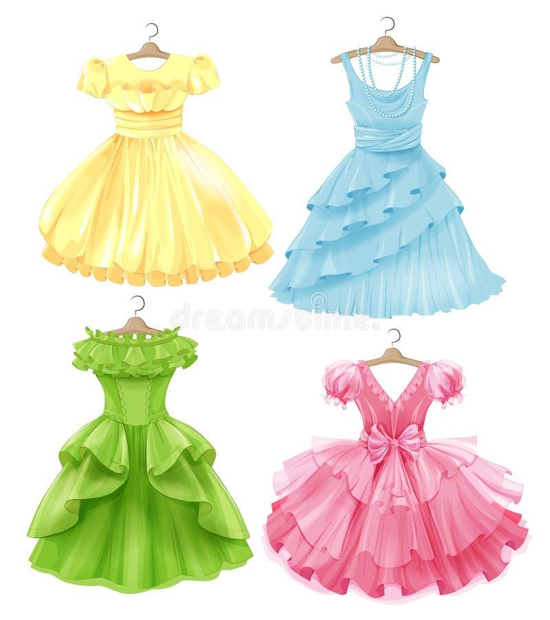 Σύνολο εορταστικών φορεμάτων για τα κορίτσια ελεύθερη απεικόνιση δικαιώματος