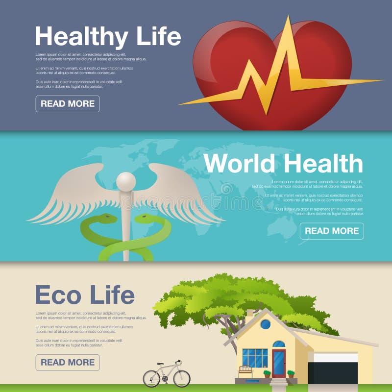 Σύνολο επίπεδης έννοιας σχεδίου για την ημέρα παγκόσμιας υγείας Διανυσματική απεικόνιση για τα εμβλήματα Ιστού ελεύθερη απεικόνιση δικαιώματος