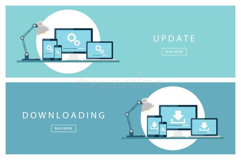 Σύνολο επίπεδης αναπροσαρμογής και μεταφόρτωσης εννοιών σχεδίου της τεχνολογίας Εγκαταστήστε το νέο λογισμικό, λειτουργικό σύστημ διανυσματική απεικόνιση