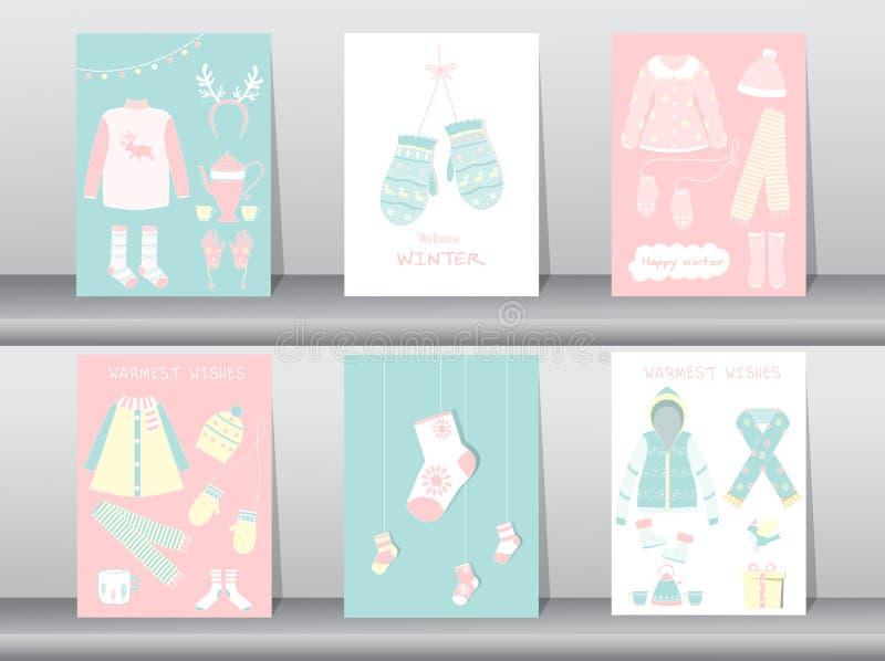 Σύνολο επίπεδης χαριτωμένης συλλογής των χειμερινών ενδυμάτων και των εξαρτημάτων, αφίσα, πρότυπο, κάρτες, χειμερινά ενδύματα, δι απεικόνιση αποθεμάτων