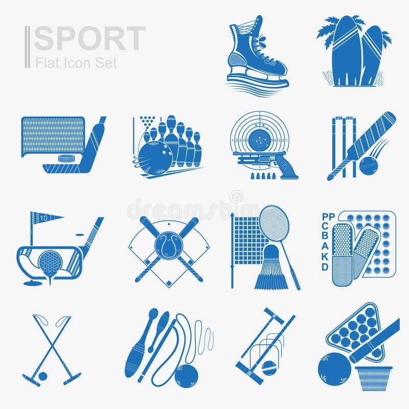 Σύνολο επίπεδου αθλητικού εικονιδίου σχεδίου με την απομονωμένη μπλε σκιαγραφία απεικόνιση αποθεμάτων