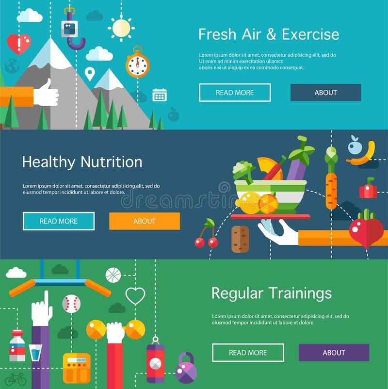 Σύνολο επίπεδου αθλητισμού σχεδίου, ικανότητα και υγιής απεικόνιση αποθεμάτων