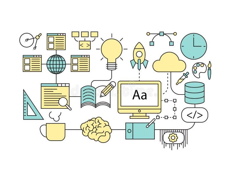 Σύνολο επίπεδου εικονιδίου γραμμών & infographic έννοιας σχεδίου δημιουργικών διανυσματική απεικόνιση