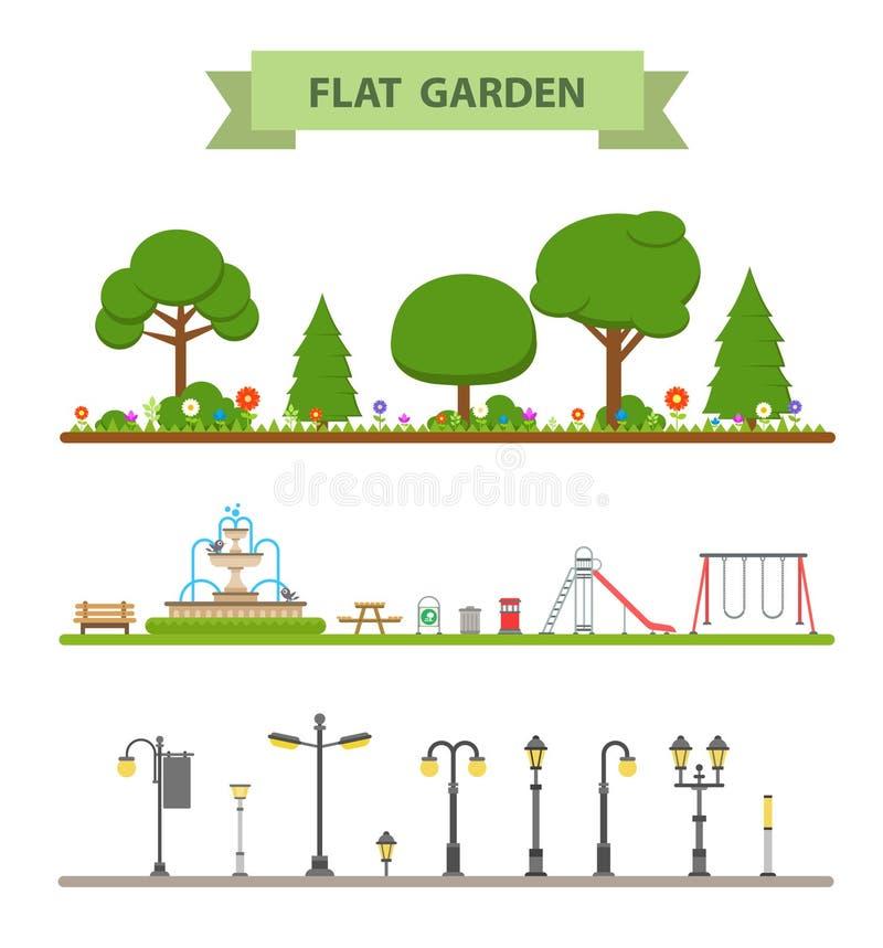 Σύνολο επίπεδου εικονιδίου κήπων ελεύθερη απεικόνιση δικαιώματος