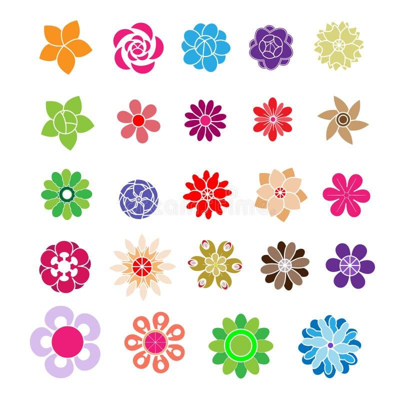 Σύνολο επίπεδου λουλουδιού εικονιδίων στη σκιαγραφία που απομονώνεται στο άσπρο διάνυσμα διανυσματική απεικόνιση
