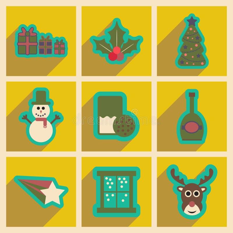 Σύνολο επίπεδων εικονιδίων με τα μακριά Χριστούγεννα σκιών απεικόνιση αποθεμάτων
