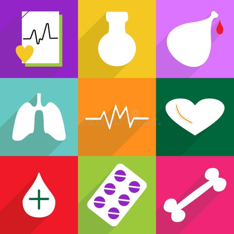 Σύνολο επίπεδων εικονιδίων με τη σκιά και την ιατρική σύγχρονου σχεδίου απεικόνιση αποθεμάτων