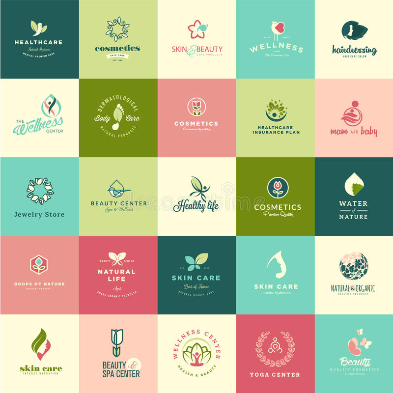 Σύνολο επίπεδων εικονιδίων ομορφιάς και φύσης σχεδίου απεικόνιση αποθεμάτων