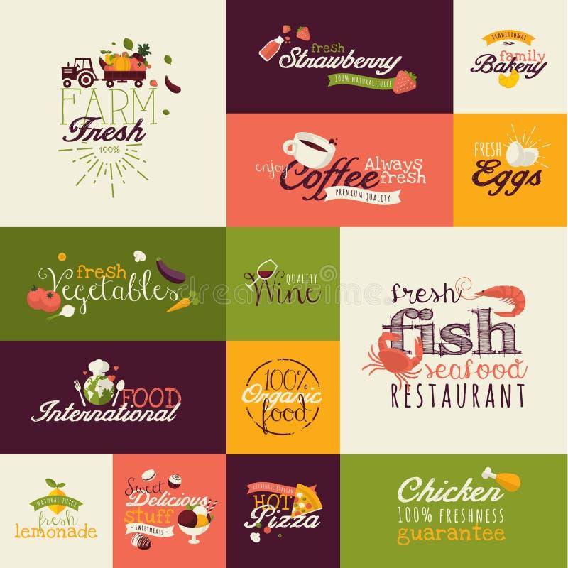 Σύνολο επίπεδων εικονιδίων σχεδίου για τα τρόφιμα και το ποτό απεικόνιση αποθεμάτων