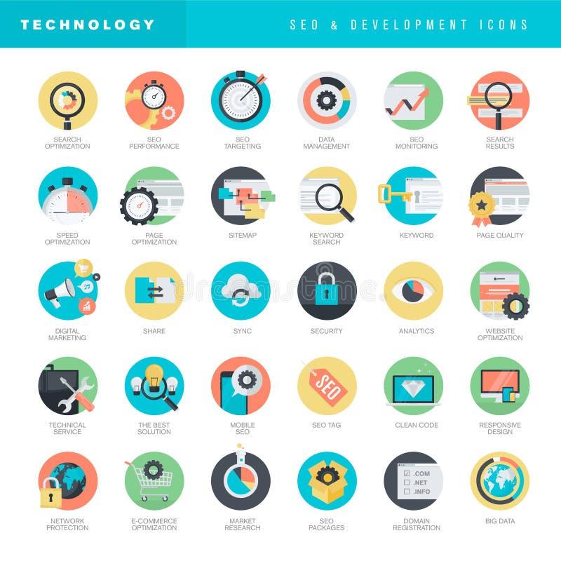 Σύνολο επίπεδων εικονιδίων σχεδίου για την ανάπτυξη SEO και ιστοχώρου διανυσματική απεικόνιση