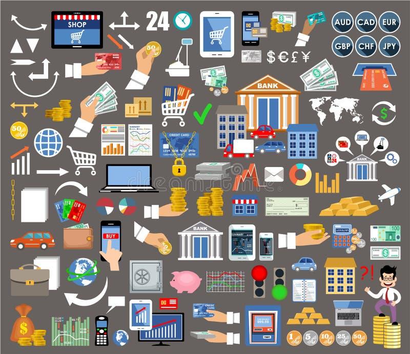Σύνολο επίπεδων εικονιδίων σχεδίου για την Διαδίκτυο-κατάθεση διανυσματική απεικόνιση