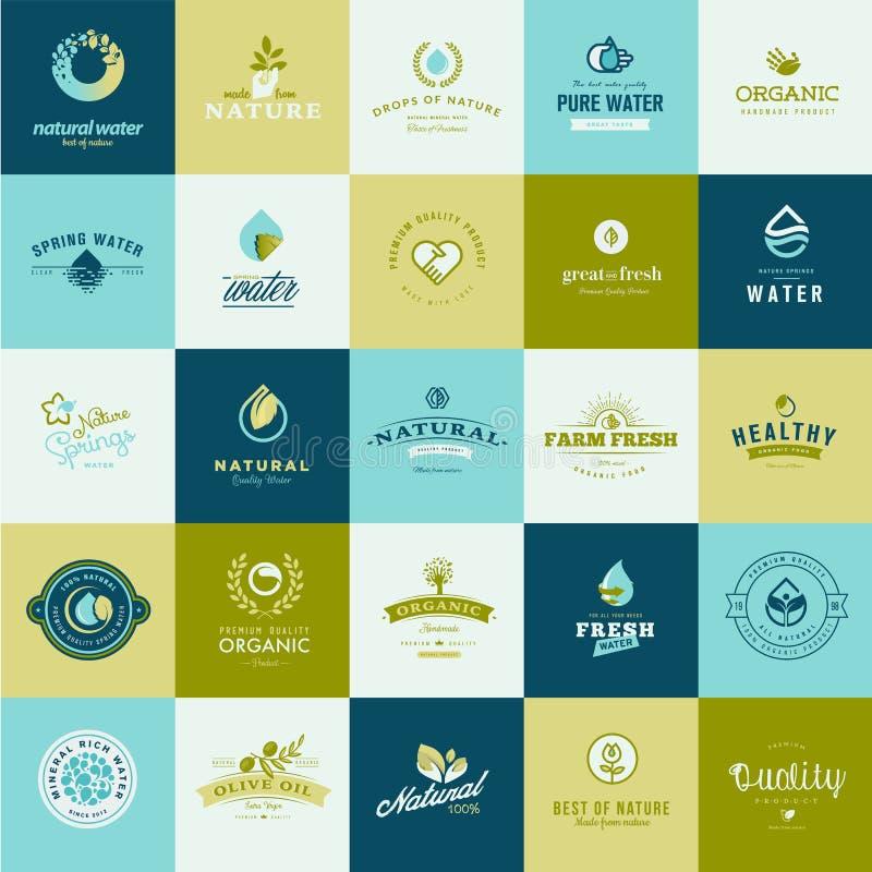 Σύνολο επίπεδων εικονιδίων σχεδίου για τη φύση, τα τρόφιμα και το ποτό ελεύθερη απεικόνιση δικαιώματος