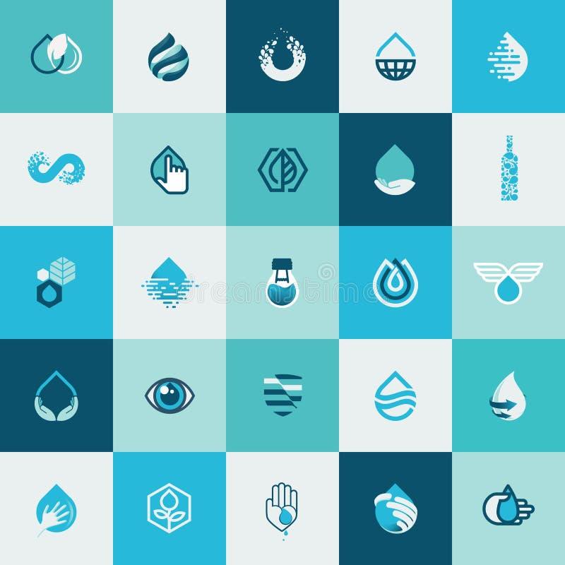 Σύνολο επίπεδων εικονιδίων σχεδίου για το νερό και τη φύση διανυσματική απεικόνιση