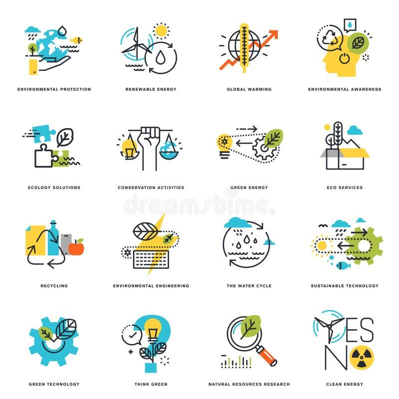Σύνολο επίπεδων εικονιδίων σχεδίου γραμμών της φύσης, της οικολογίας, της πράσινων τεχνολογίας και της ανακύκλωσης ελεύθερη απεικόνιση δικαιώματος