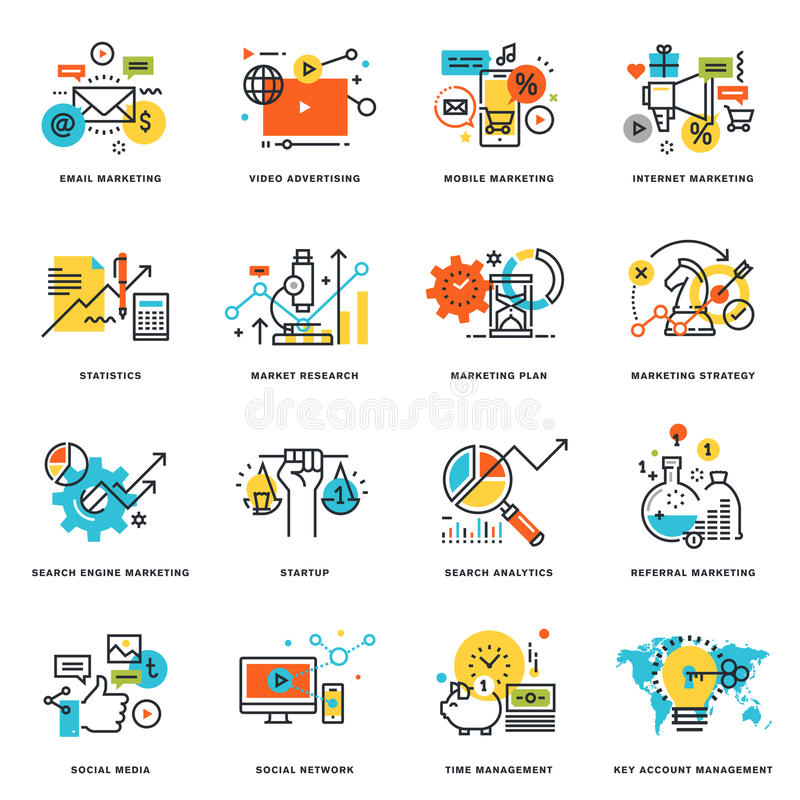 Σύνολο επίπεδων εικονιδίων σχεδίου γραμμών του μάρκετινγκ Διαδικτύου και της σε απευθείας σύνδεση επιχείρησης
