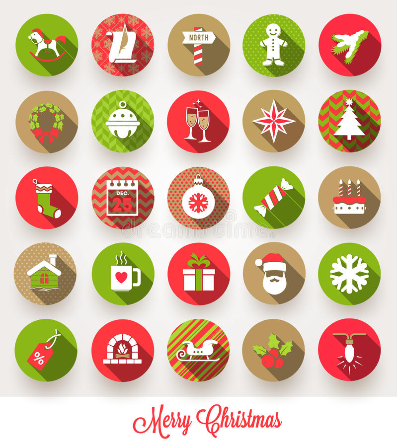 Σύνολο επίπεδων εικονιδίων Χριστουγέννων ελεύθερη απεικόνιση δικαιώματος