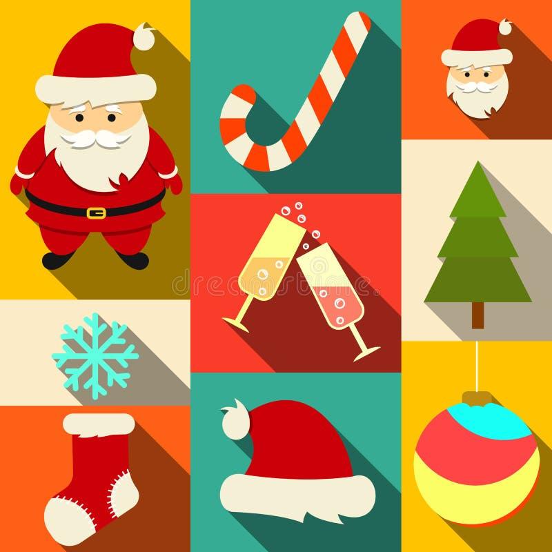 Σύνολο επίπεδων εικονιδίων Χριστουγέννων απεικόνιση αποθεμάτων