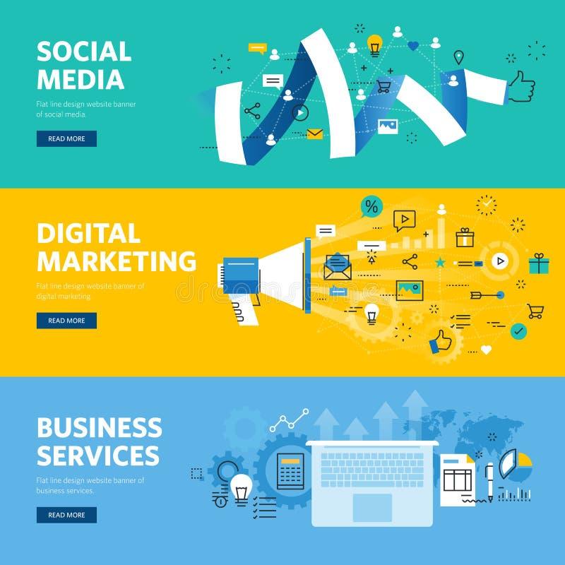 Σύνολο επίπεδων εμβλημάτων Ιστού σχεδίου γραμμών για τα κοινωνικά μέσα, το μάρκετινγκ Διαδικτύου, τη δικτύωση και τις υπηρεσίες ε