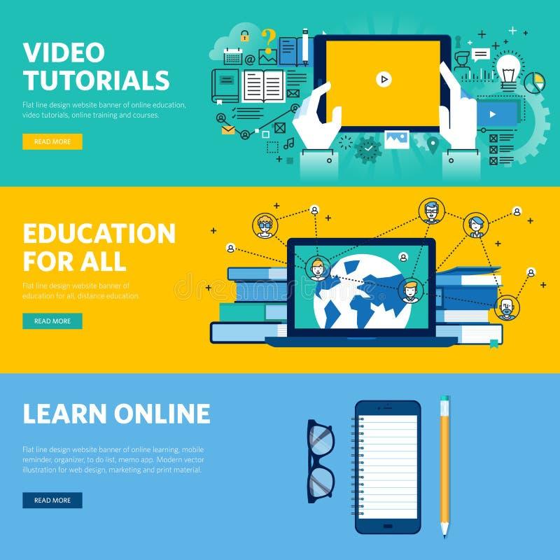 Σύνολο επίπεδων εμβλημάτων Ιστού σχεδίου γραμμών για την εξ αποστάσεως εκπαίδευση, μαθαίνοντας on-line, τηλεοπτικά σεμινάρια διανυσματική απεικόνιση