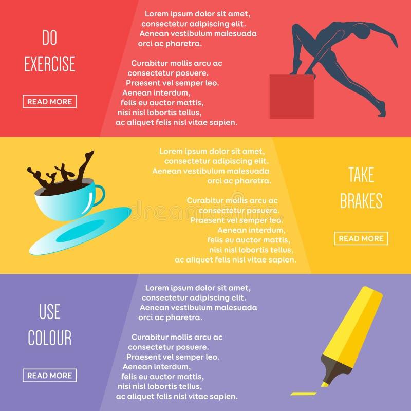 Σύνολο επίπεδων εμβλημάτων Ιστού σχεδίου χρώματος απεικόνιση αποθεμάτων