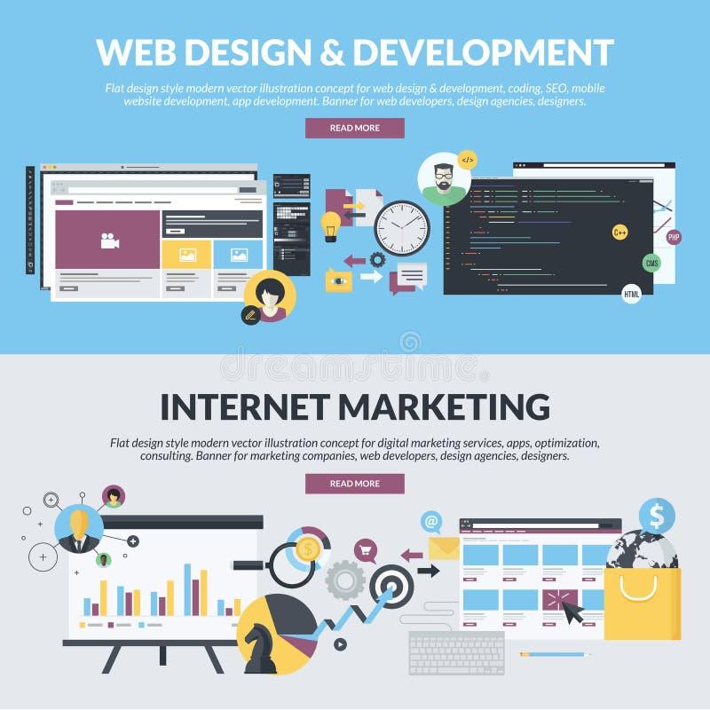 Σύνολο επίπεδων εμβλημάτων ύφους σχεδίου για την ανάπτυξη Ιστού και το μάρκετινγκ Διαδικτύου διανυσματική απεικόνιση