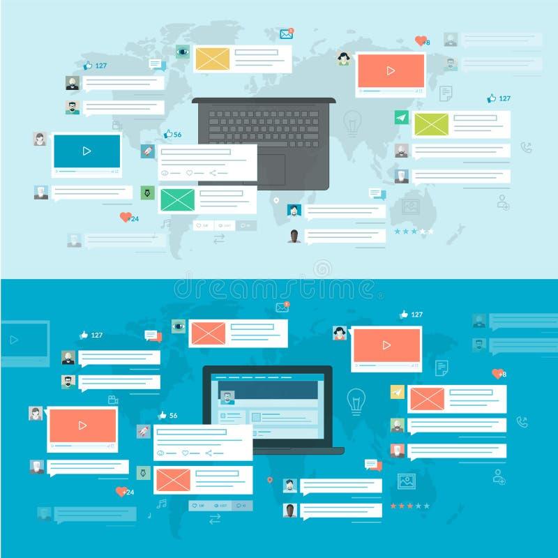 Σύνολο επίπεδων εννοιών σχεδίου για το κοινωνικό δίκτυο ελεύθερη απεικόνιση δικαιώματος