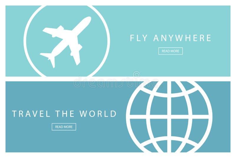 Σύνολο επίπεδων εννοιών ταξιδιού σχεδίου Ταξιδεψτε τον κόσμο και πετάξτε οπουδήποτε Πρότυπα παρουσίασης ελεύθερη απεικόνιση δικαιώματος