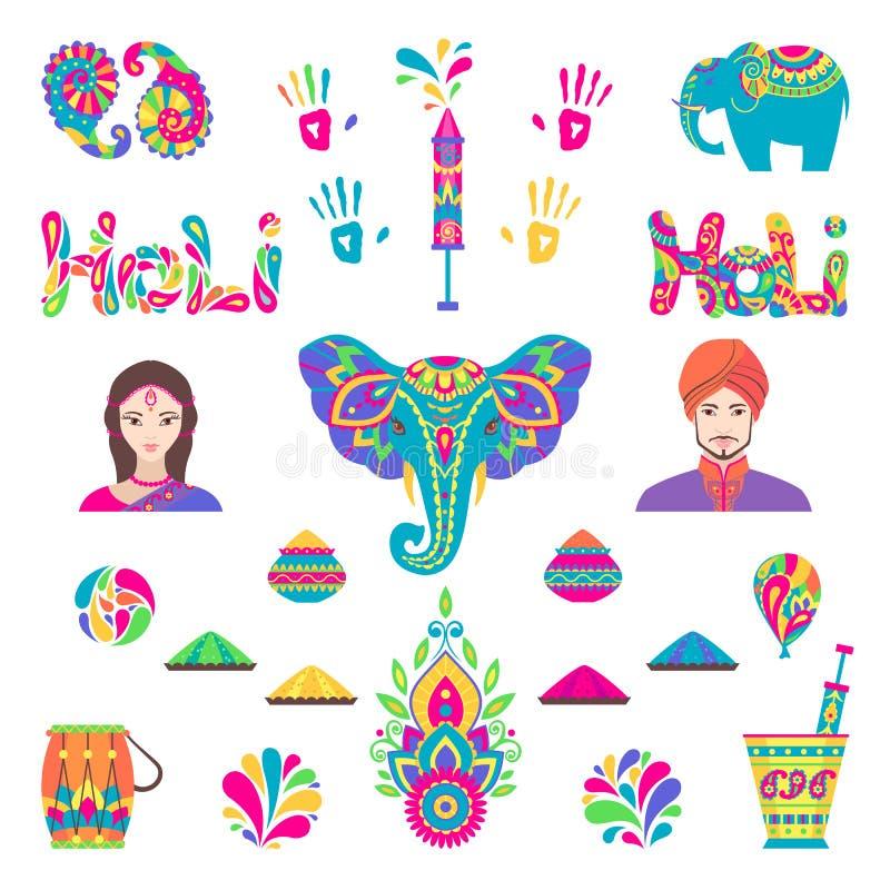Σύνολο επίπεδων στοιχείων Holi στο ινδικό ύφος ελεύθερη απεικόνιση δικαιώματος