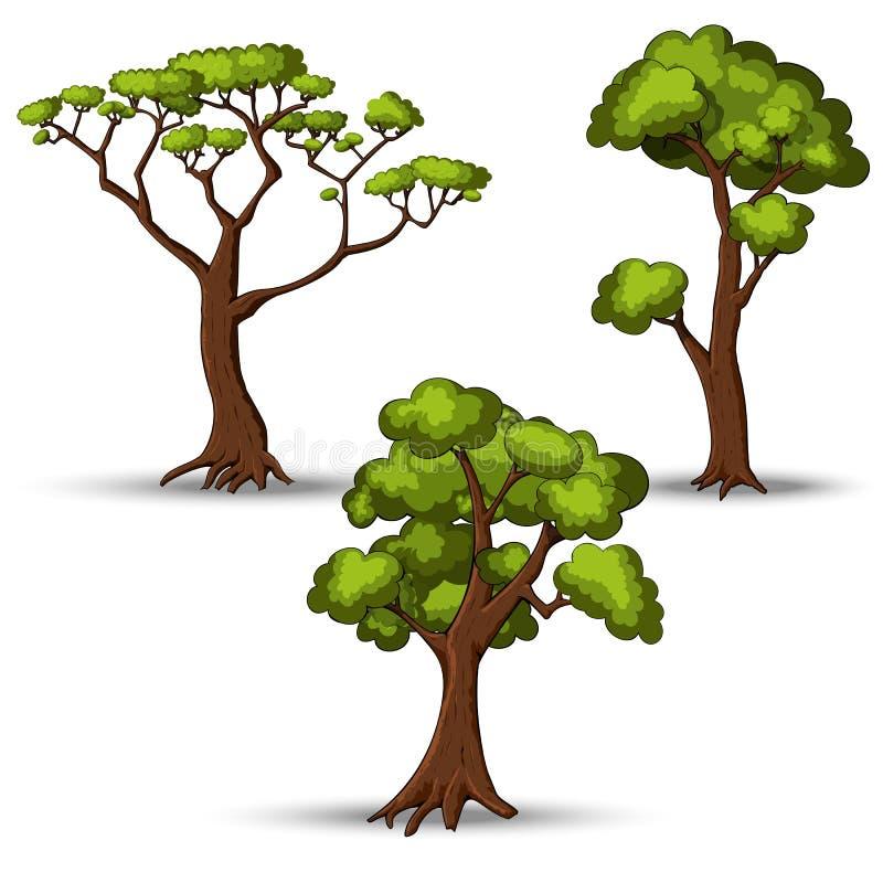Σύνολο επίπεδων τυποποιημένων δέντρων Φυσική διανυσματική απεικόνιση ελεύθερη απεικόνιση δικαιώματος