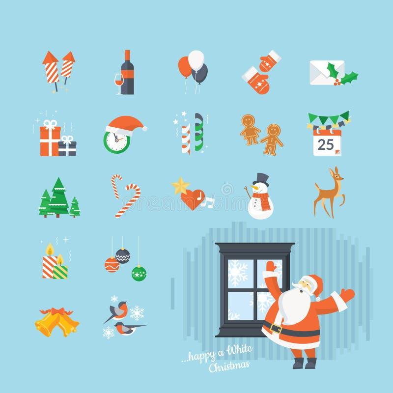 Σύνολο επίπεδων Χριστουγέννων σχεδίου και νέων εικονιδίων έτους διανυσματική απεικόνιση