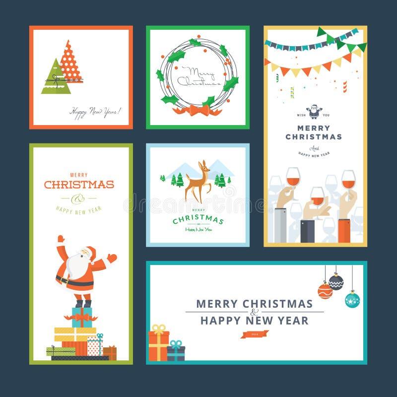 Σύνολο επίπεδων Χριστουγέννων σχεδίου και νέων προτύπων ευχετήριων καρτών έτους