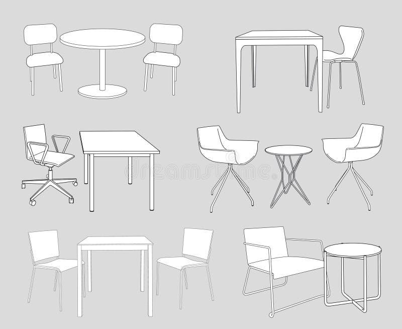 Σύνολο επίπλων. πίνακες και καρέκλες. διάνυσμα σκίτσων διανυσματική απεικόνιση