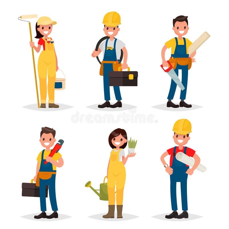 Σύνολο επαγγελμάτων εργασίας Ζωγράφος, ηλεκτρολόγος, ξυλουργός, ελεύθερη απεικόνιση δικαιώματος