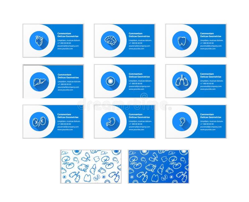 Σύνολο επαγγελματικών καρτών για τους γιατρούς διαφορετικών ειδικοτήτων και δύο διαφορετικών σχεδίων πίσω πλευράς στο λευκό διανυσματική απεικόνιση
