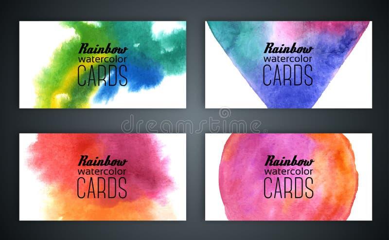Σύνολο επαγγελματικών καρτών με το υπόβαθρο watercolor ελεύθερη απεικόνιση δικαιώματος