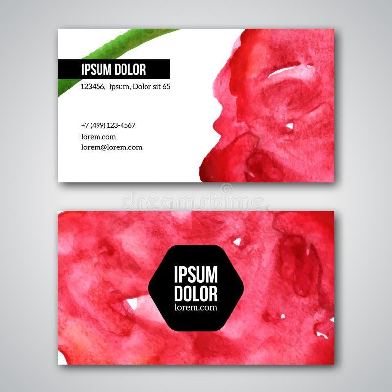 Σύνολο επαγγελματικών καρτών με το υπόβαθρο watercolor διανυσματική απεικόνιση