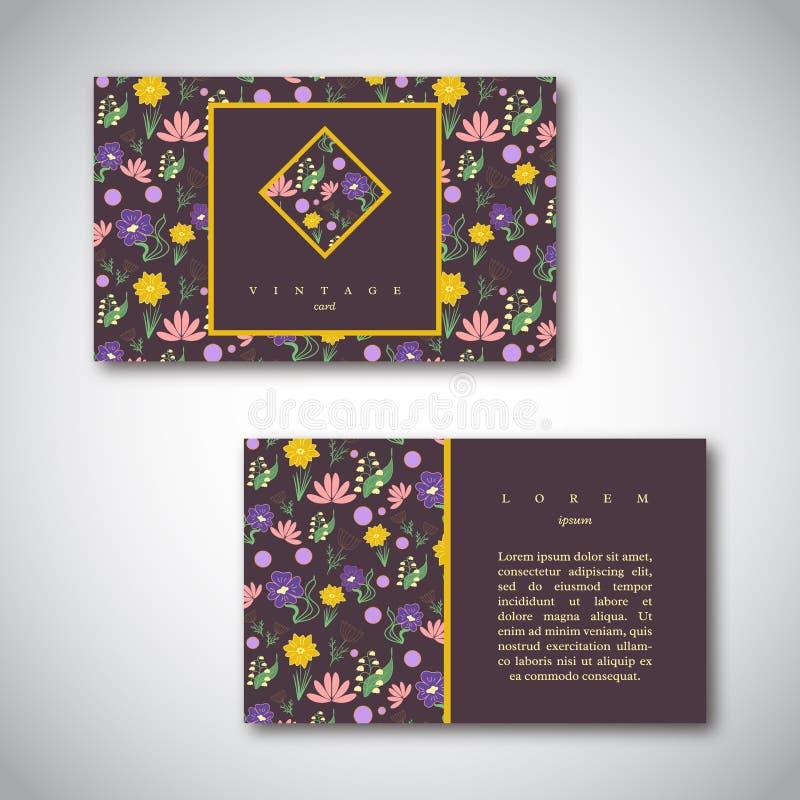 Σύνολο επαγγελματικών καρτών με το floral σχέδιο Εκλεκτής ποιότητας πρότυπο καρτών ελεύθερη απεικόνιση δικαιώματος