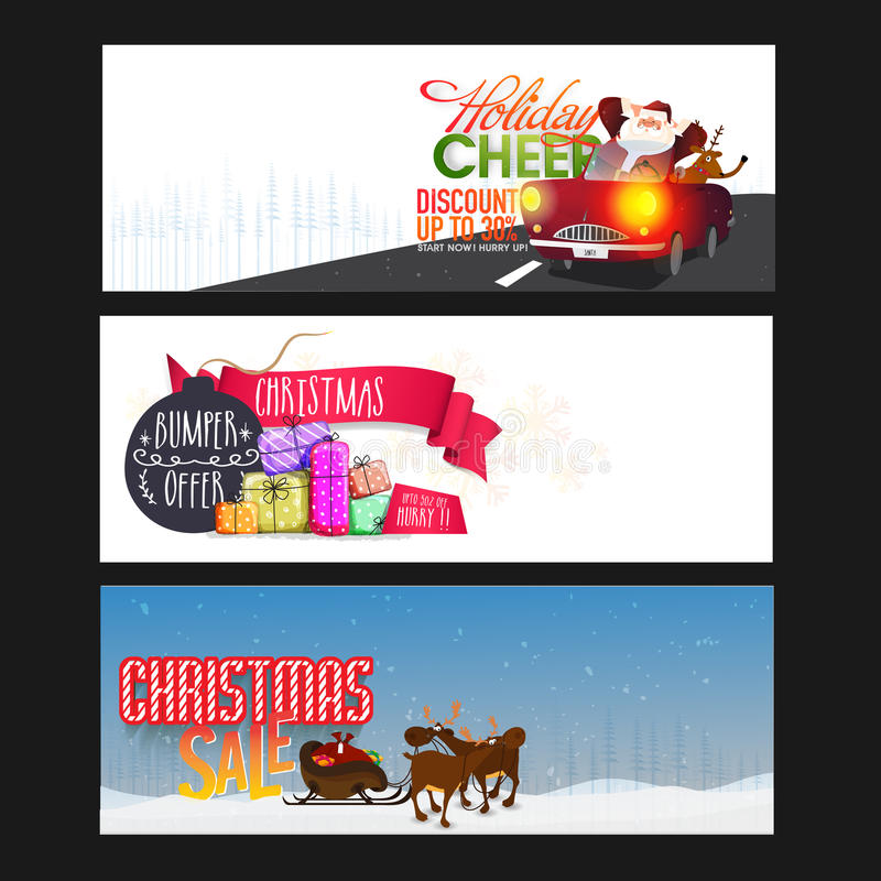 Σύνολο επιγραφών ή εμβλημάτων Ιστού πώλησης Χριστουγέννων ελεύθερη απεικόνιση δικαιώματος
