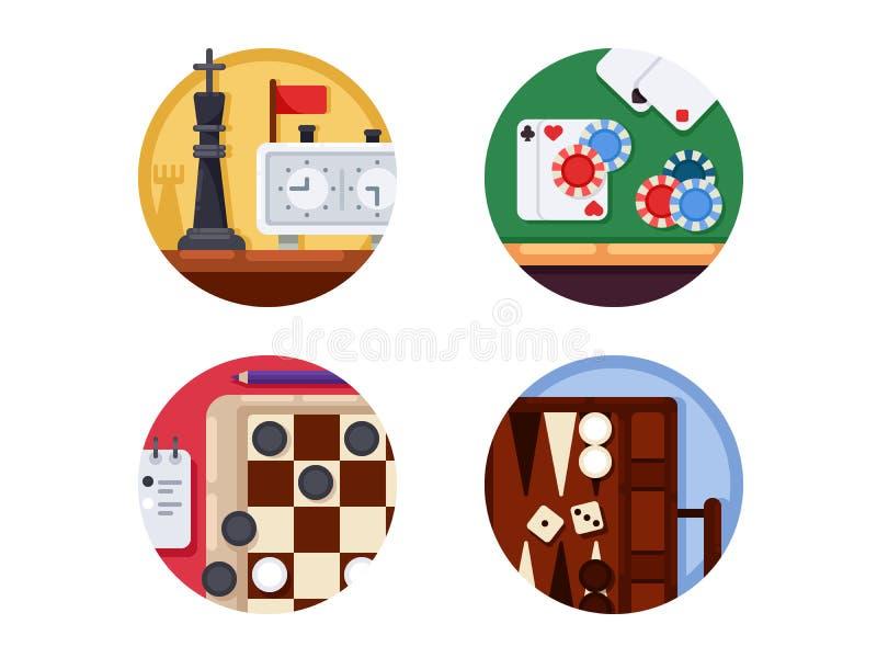 Σύνολο επιτραπέζιων παιχνιδιών εικονιδίων απεικόνιση αποθεμάτων
