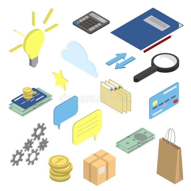 Σύνολο επιχειρήσεων και χρηματοδότησης isometric στοιχείων, εικονίδια Χρήματα, γ απεικόνιση αποθεμάτων