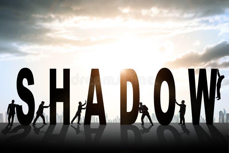 Σύνολο επιχειρηματιών που ωθούν τη σκιά λέξης διανυσματική απεικόνιση