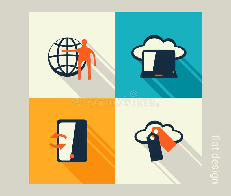 Σύνολο επιχειρησιακών εικονιδίων Λογισμικό και ανάπτυξη Ιστού, μάρκετινγκ ελεύθερη απεικόνιση δικαιώματος