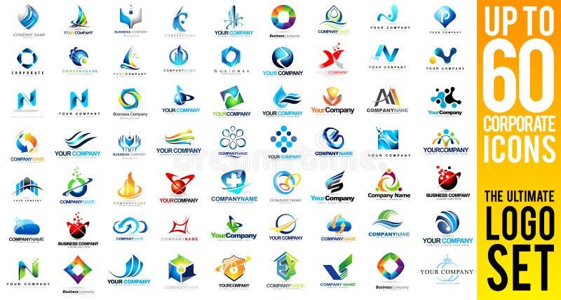 Σύνολο επιχειρησιακών εταιρικό λογότυπων ελεύθερη απεικόνιση δικαιώματος
