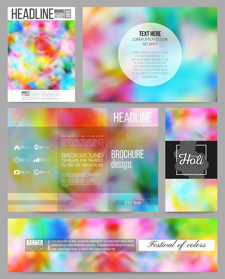Σύνολο επιχειρησιακών προτύπων για την παρουσίαση, το φυλλάδιο, το ιπτάμενο ή το βιβλιάριο Ζωηρόχρωμο υπόβαθρο, εορτασμός Holi, δ απεικόνιση αποθεμάτων