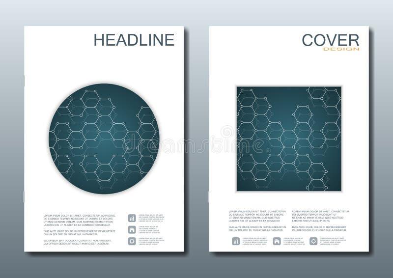 Σύνολο επιχειρησιακών προτύπων για το φυλλάδιο, ιπτάμενο, περιοδικό κάλυψης A4 στο μέγεθος DNA μορίων δομών και νευρώνες γεωμετρι ελεύθερη απεικόνιση δικαιώματος