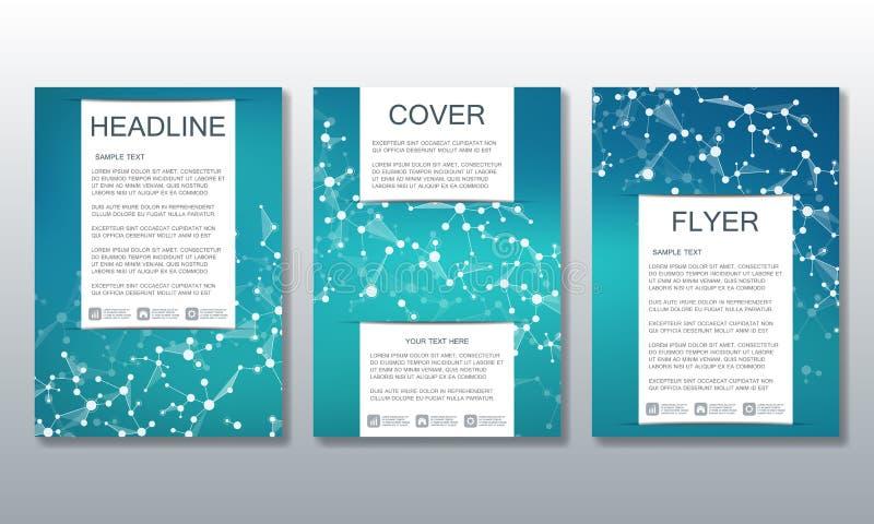 Σύνολο επιχειρησιακών προτύπων για το φυλλάδιο, ιπτάμενο, περιοδικό κάλυψης A4 στο μέγεθος Μόριο δομών του DNA και των νευρώνων διανυσματική απεικόνιση