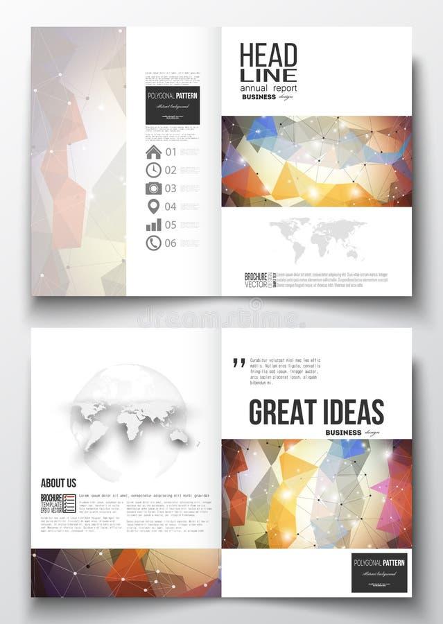 Σύνολο επιχειρησιακών προτύπων για το φυλλάδιο, το περιοδικό, το ιπτάμενο, το βιβλιάριο ή τη ετήσια έκθεση Αφηρημένος ζωηρόχρωμος διανυσματική απεικόνιση
