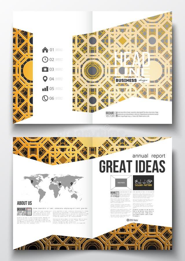 Σύνολο επιχειρησιακών προτύπων για το φυλλάδιο, το περιοδικό, το ιπτάμενο, το βιβλιάριο ή τη ετήσια έκθεση Ισλαμική χρυσή διανυσμ ελεύθερη απεικόνιση δικαιώματος